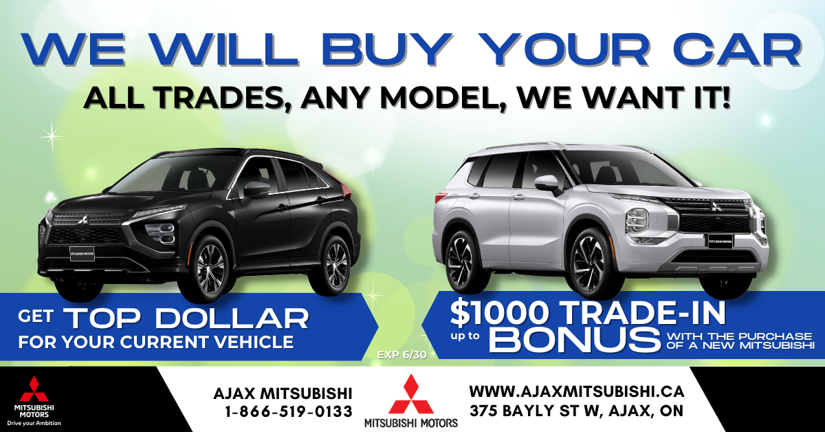 We will buy your car, Ajax Mitsubishi
